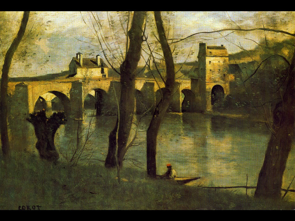 Artistic Wallpaper: Corot - Bridge of Nantes