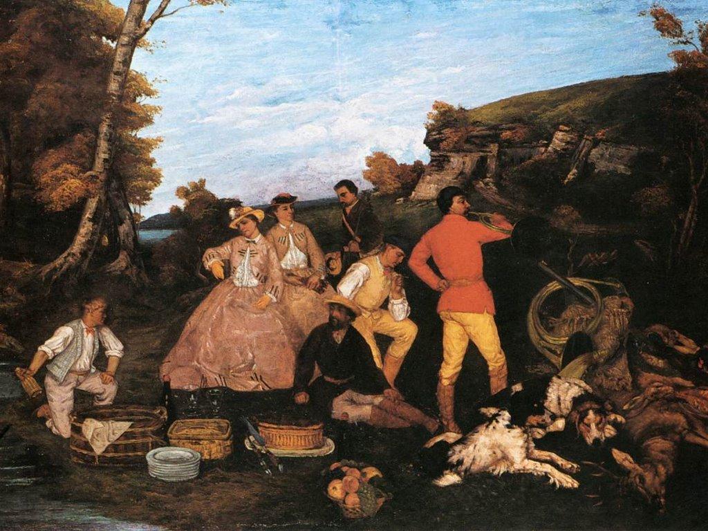 Artistic Wallpaper: Courbet - The Hunt Breakfast