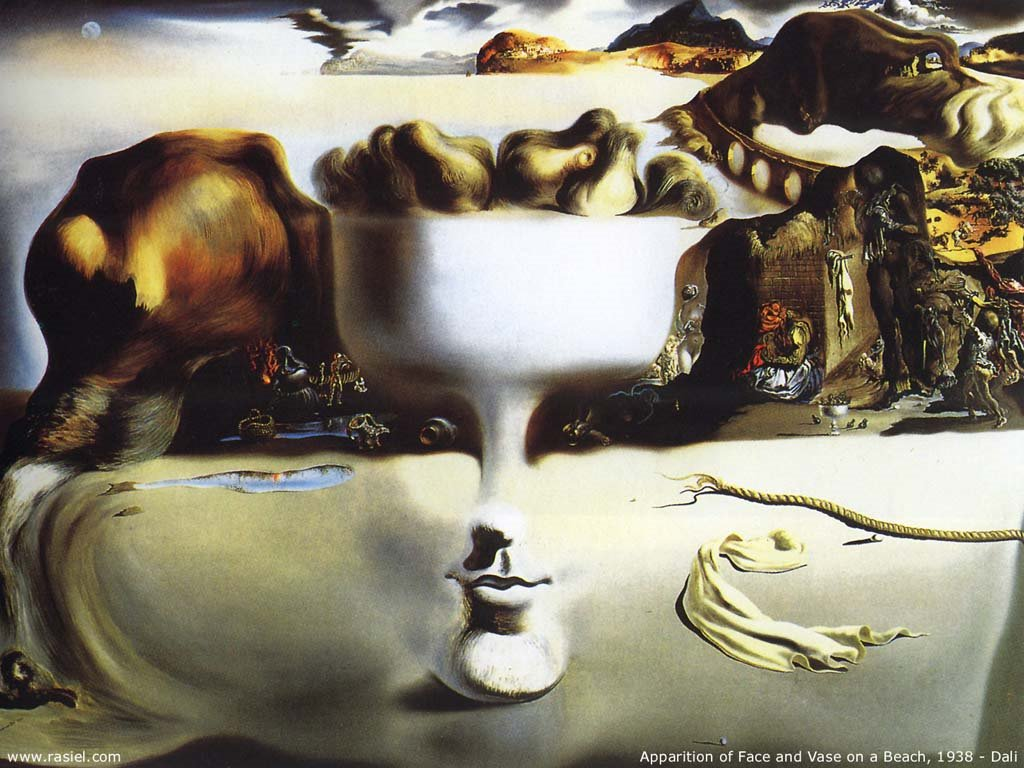 Artistic Wallpaper: Dali - Apparition of Face and Vase on a Beach