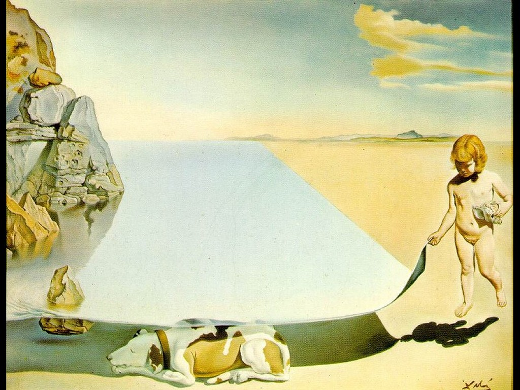 Artistic Wallpaper: Dali - At The Age Of Six When He Thought He Was A Girl Lifting The Skin Of The Water To See The Dog Sleeping In The Shade Of The Sea