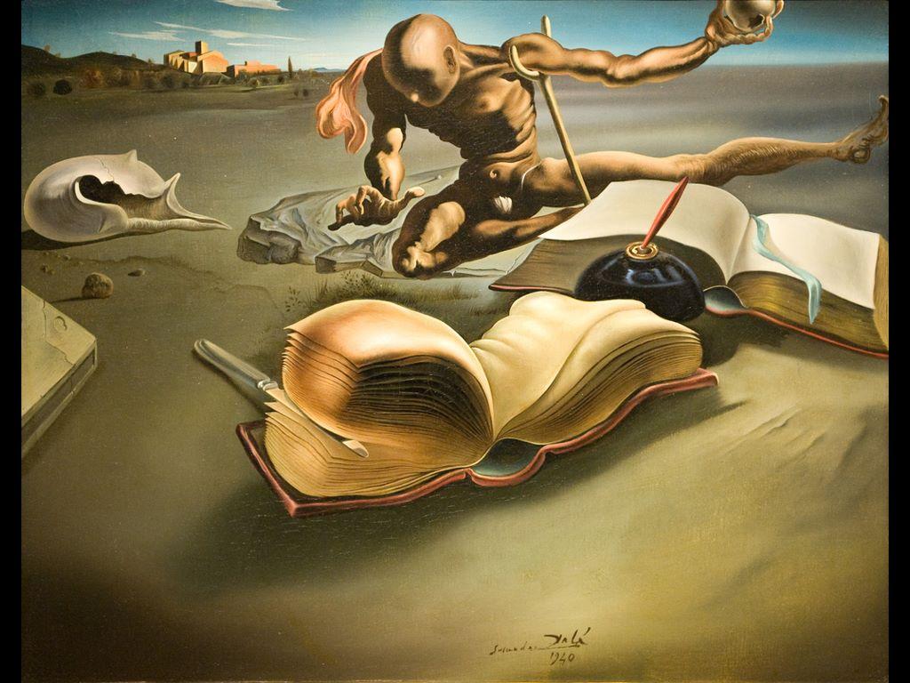 Artistic Wallpaper: Dali - Book Transforming Itself into a Nude Woman