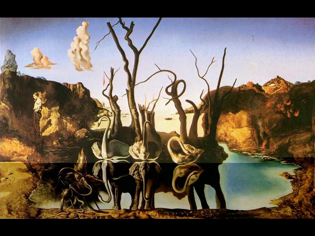 Artistic Wallpaper: Dali - Swans Reflecting Elephants