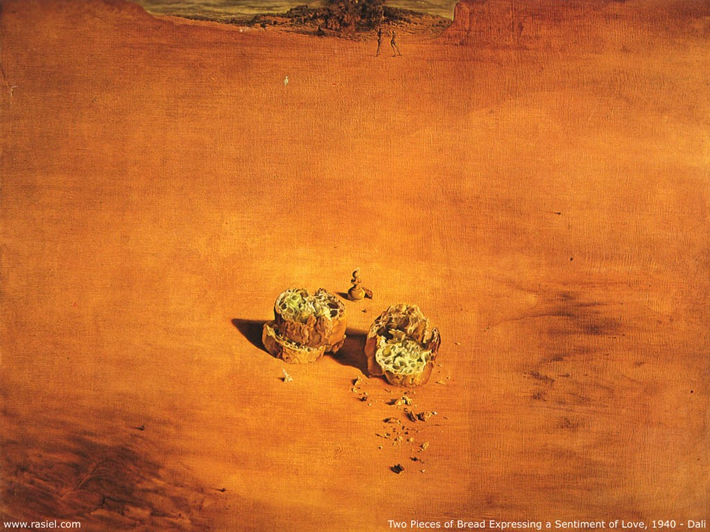 Artistic Wallpaper: Dali - Two Pieces of Bread Expressing a Sentiment of Love
