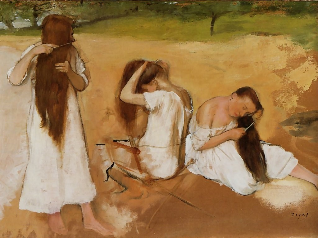 Artistic Wallpaper: Degas - Women Combing Their Hair