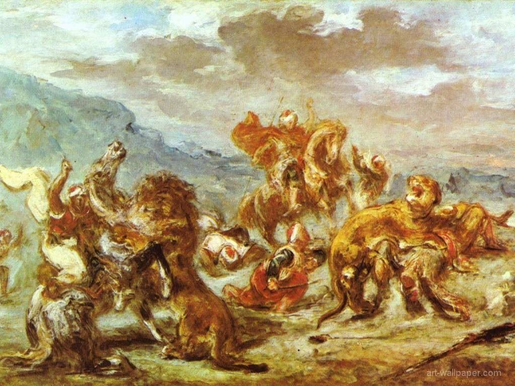 Artistic Wallpaper: Delacroix - Lion Hunting