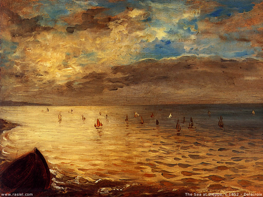 Artistic Wallpaper: Delacroix - The Sea at Dieppe