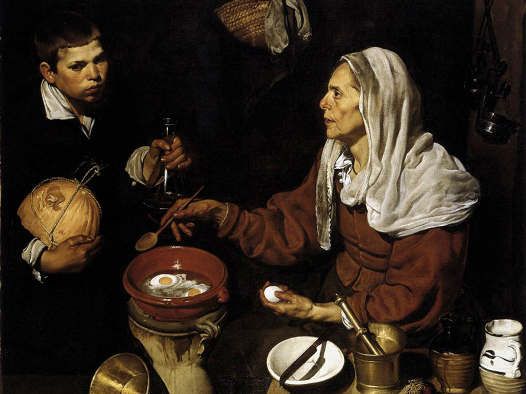 Artistic Wallpaper: Diego Velazquez - Old Woman Cooking Eggs