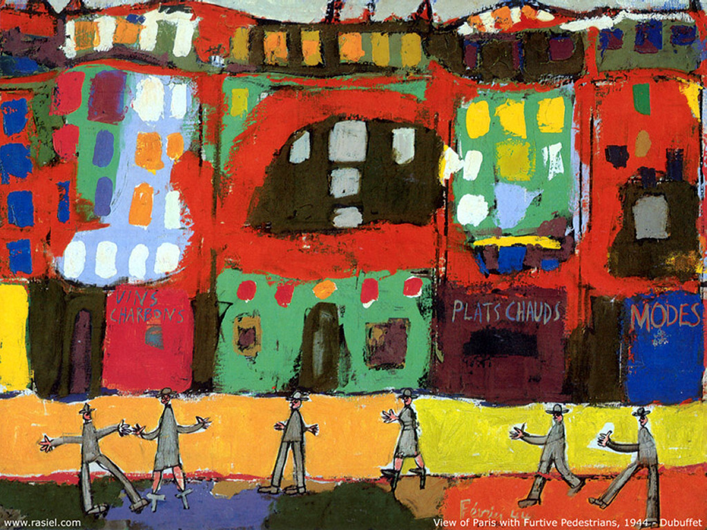 Artistic Wallpaper: Dubuffet - View of Paris with Furtive Pedestrians