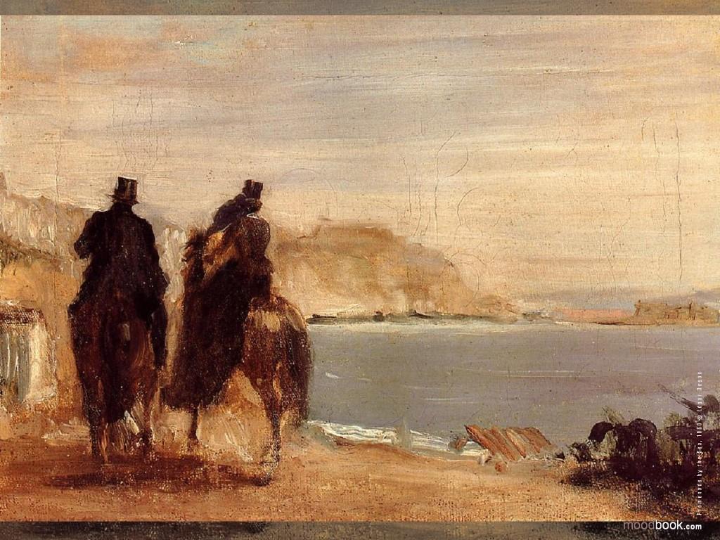 Artistic Wallpaper: Edgar Degas - Promenade by the Sea