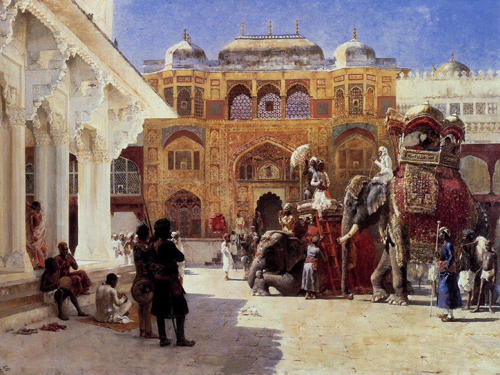 Artistic Wallpaper: Edwin Lord Weeks - Arrival of Prince Humbert the Rajah
