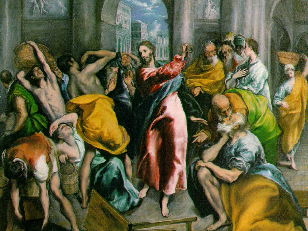 Artistic Wallpaper: El Greco - Christ Driving the Traders from the Temple
