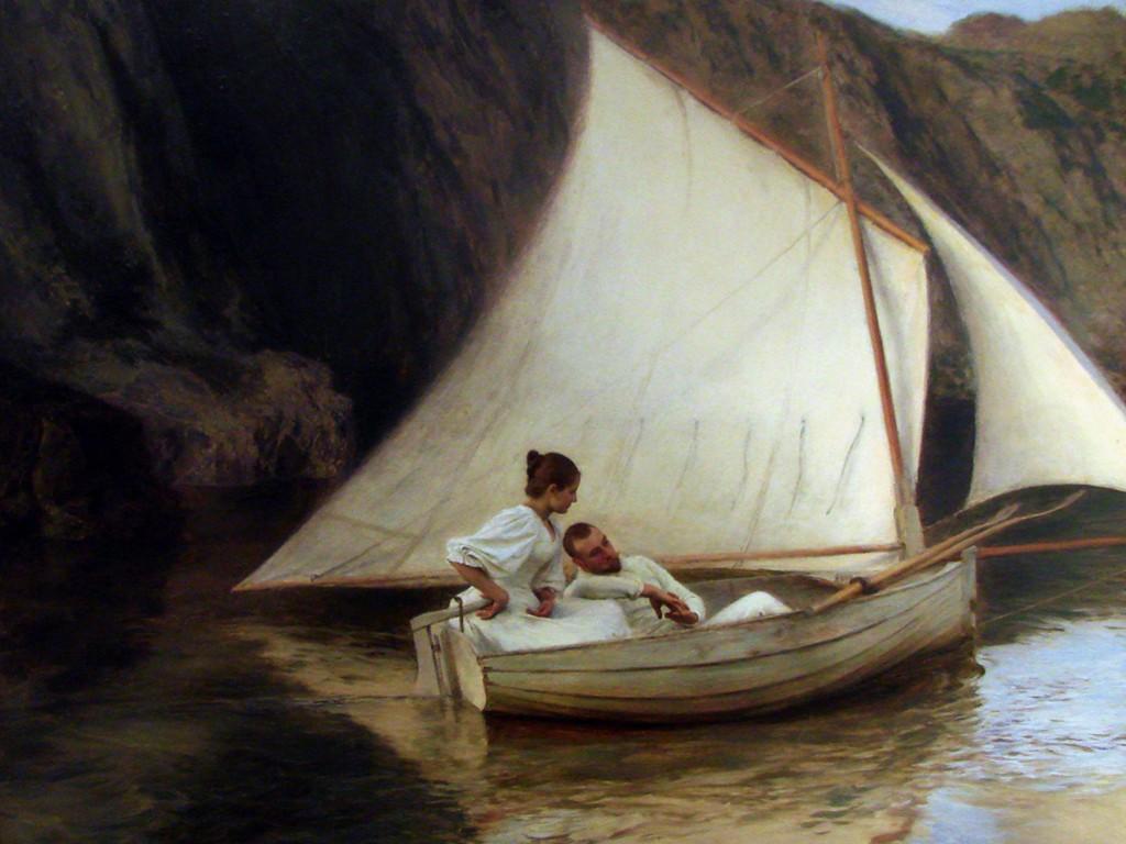 Artistic Wallpaper: Emile Friant - La Petite Barque