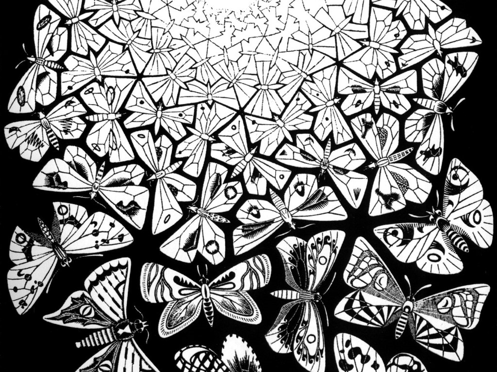 Artistic Wallpaper: Escher - Butterflies