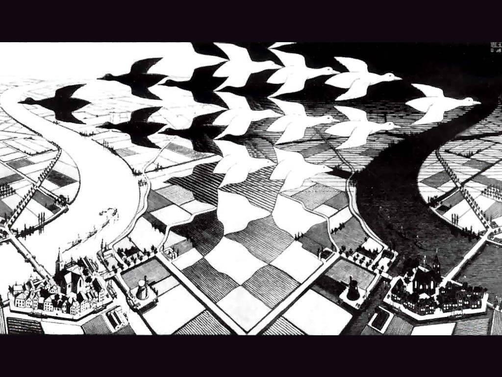 Artistic Wallpaper: Escher - Day and Night