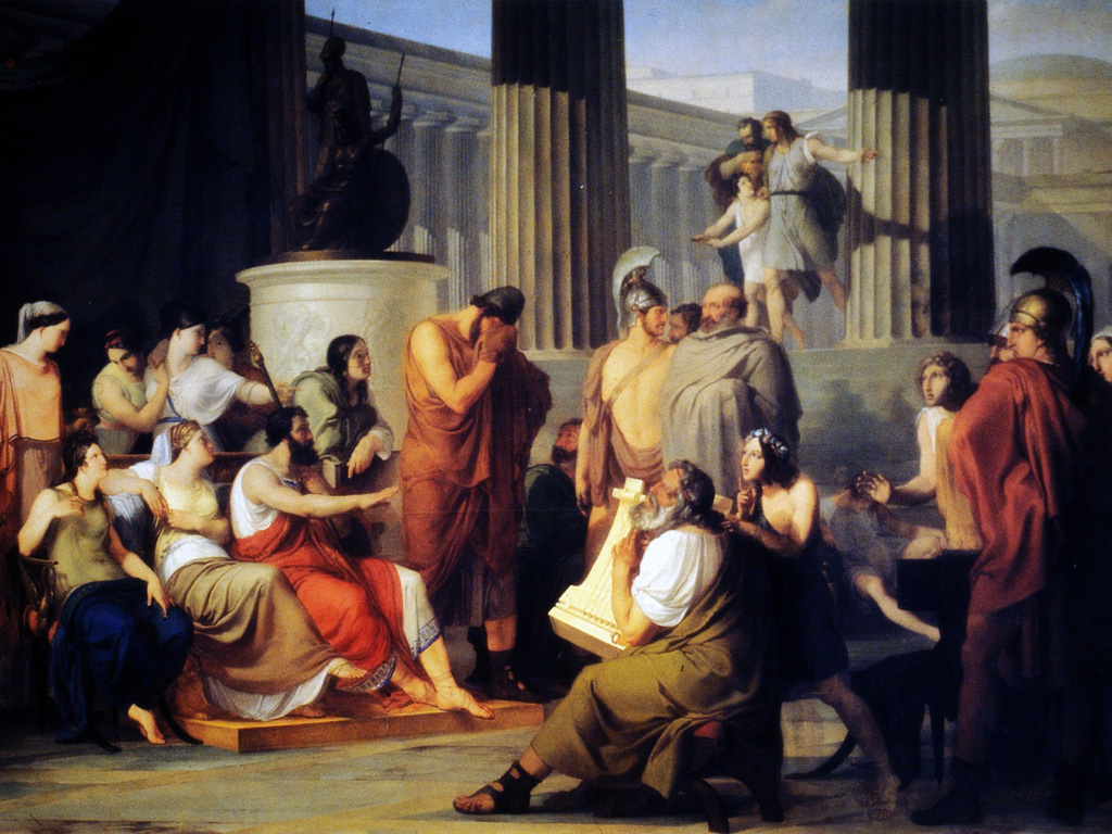 Artistic Wallpaper: Francesco Hayez - Odysseus in the Court of Alcionous