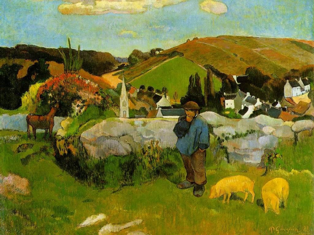 Artistic Wallpaper: Gauguin - The Swineherd Brittany