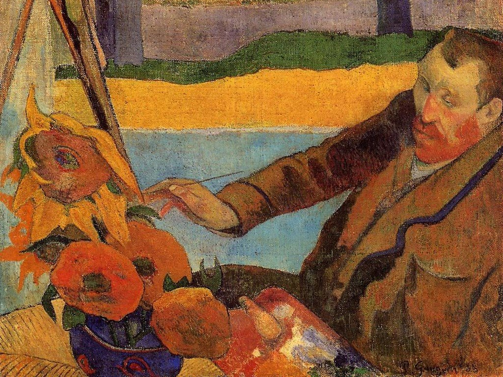 Artistic Wallpaper: Gauguin - Van Gogh Painting Sunflowers