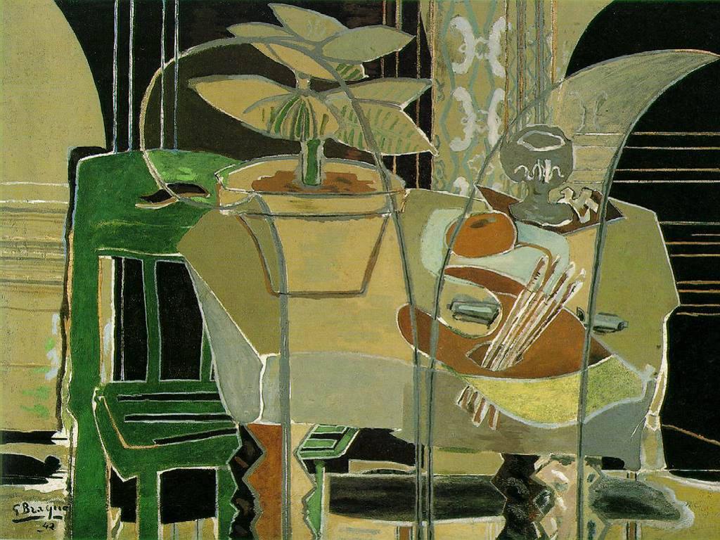 Artistic Wallpaper: Georges Braque - Interno con Tavolozza