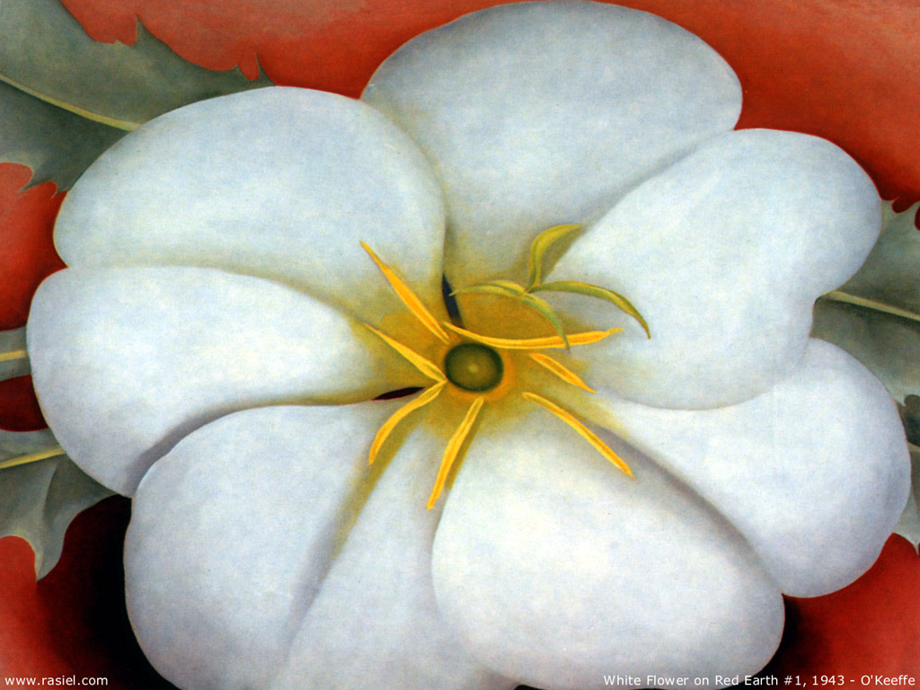 Artistic Wallpaper: Georgia O'Keeffe - White Flower on Red Earth