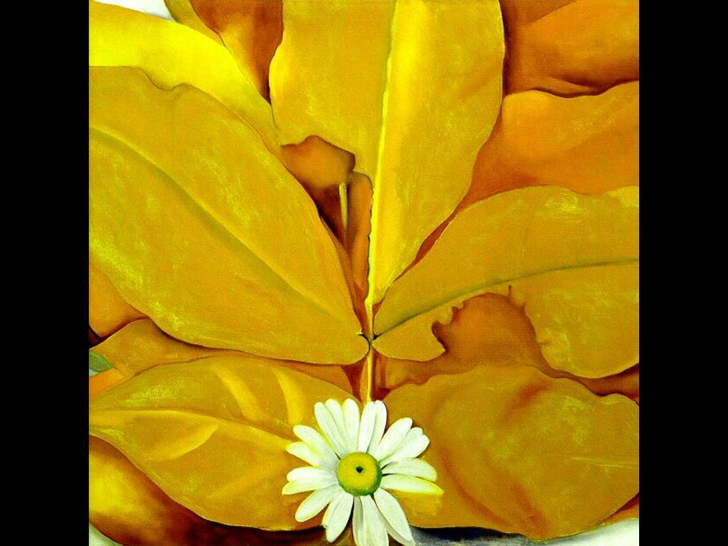 Artistic Wallpaper: Georgia O' Keeffe - Yellow Hickery Leaves with Daisy