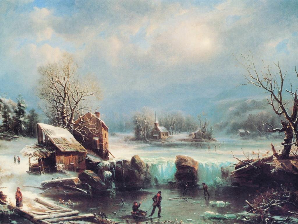 Artistic Wallpaper: Gignoux - Midwinter Moonlight