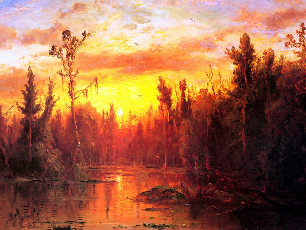 Artistic Wallpaper: Gignoux - Regis Sunset on the Great Dismal Swamp