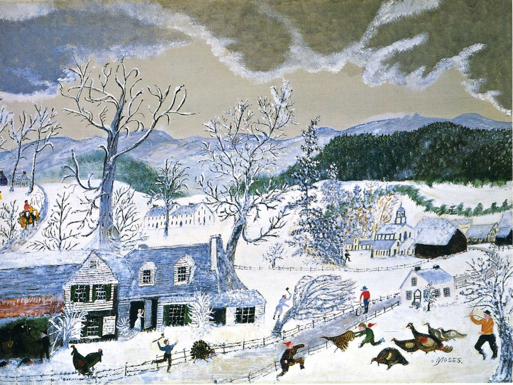 Artistic Wallpaper: Grandma Moses - Catching the Turkey