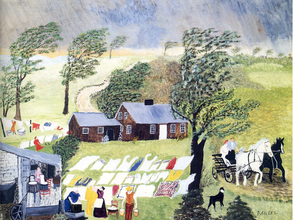 Artistic Wallpaper: Grandma Moses - Taking in the Laundry