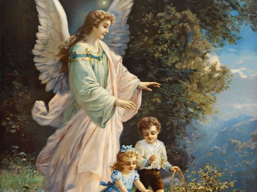 Artistic Wallpaper: Guardian Angel Protecting Children Near a Ledge