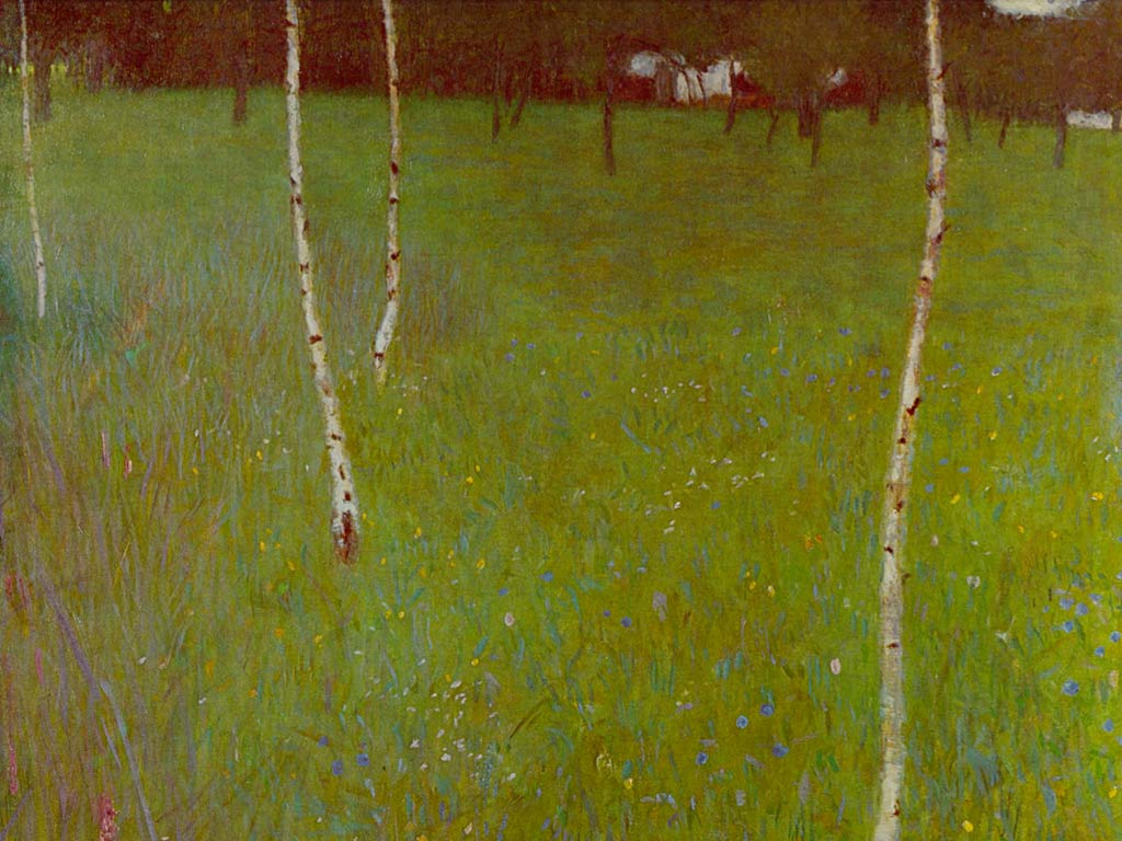Artistic Wallpaper: Gustave Klimt - Farmhouse with Birch Trees