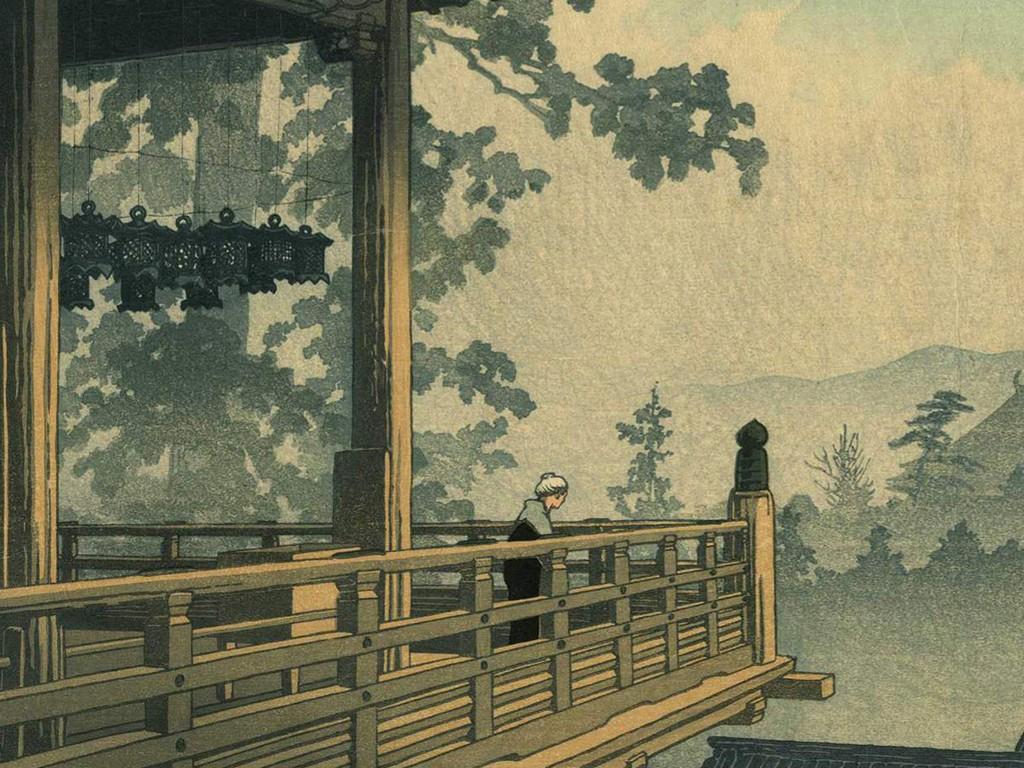 Papel de Parede Gratuito de Artes : Hasui - Nigatsudo Temple