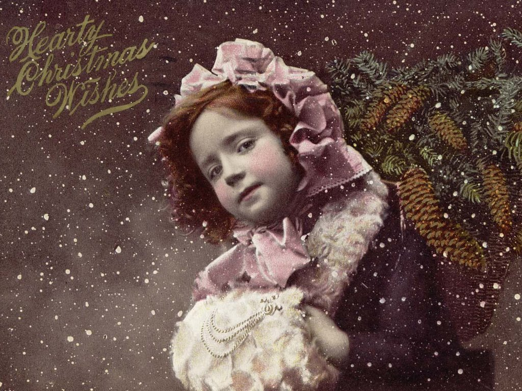 Artistic Wallpaper: Hearty Christmas Wishes - Antique Postcard