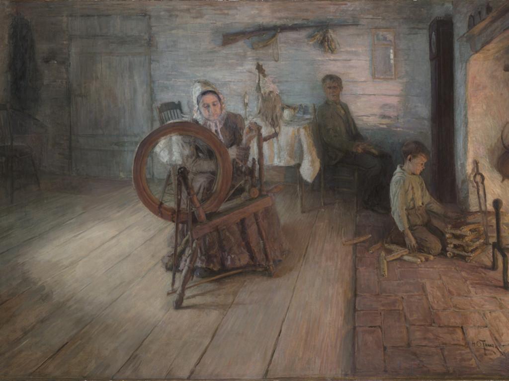 Artistic Wallpaper: Henry Ossawa Tanner - Spinning By Firelight