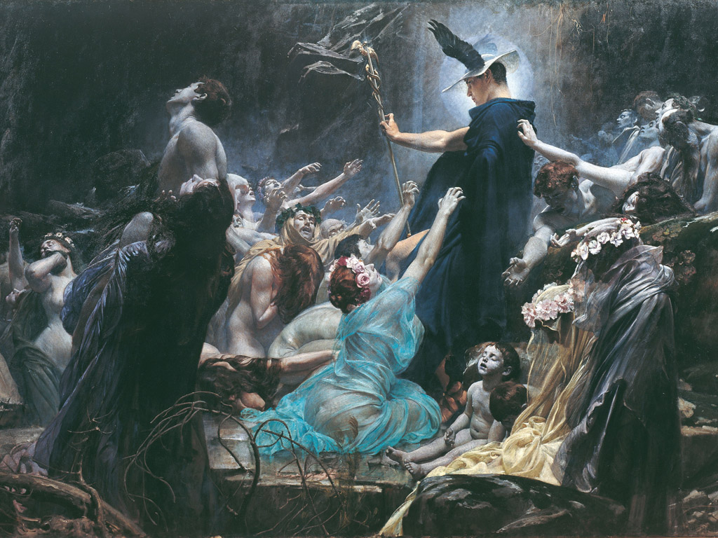 Artistic Wallpaper: Hiremy Hirschl Adolf - Souls On The Banks Of The Acheron