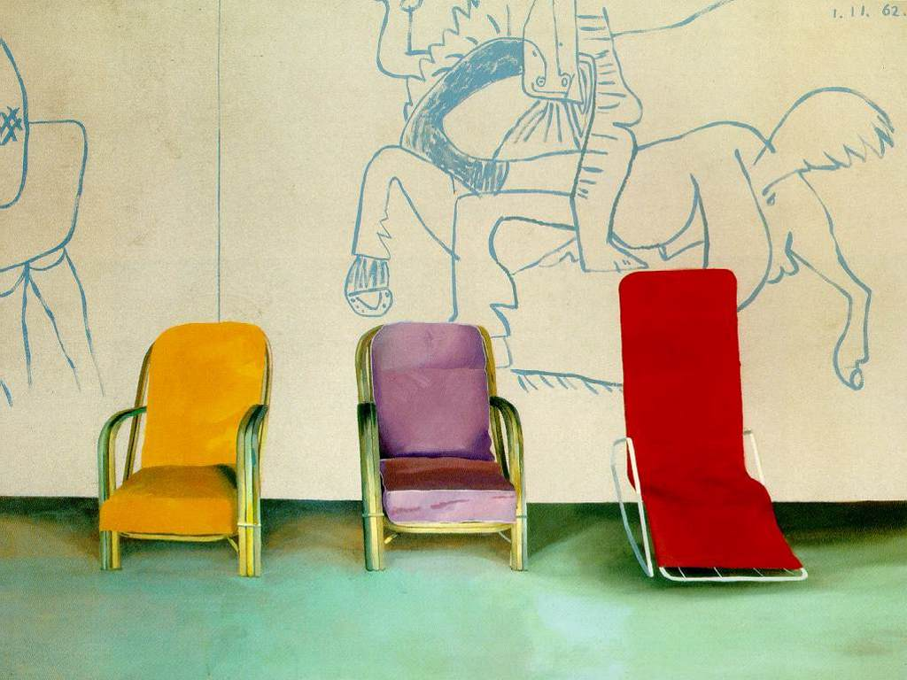 Artistic Wallpaper: Hockney - Three Chairs With a Section of a Picasso Mural