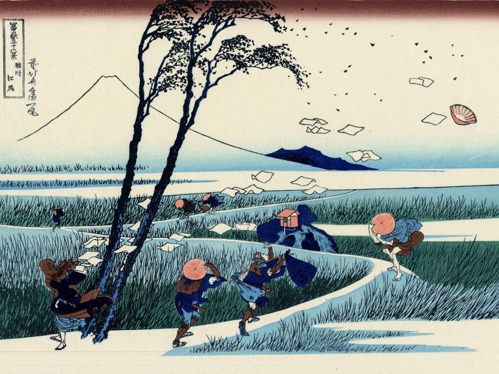 Artistic Wallpaper: Hokusai - A Sudden Gust of Wind