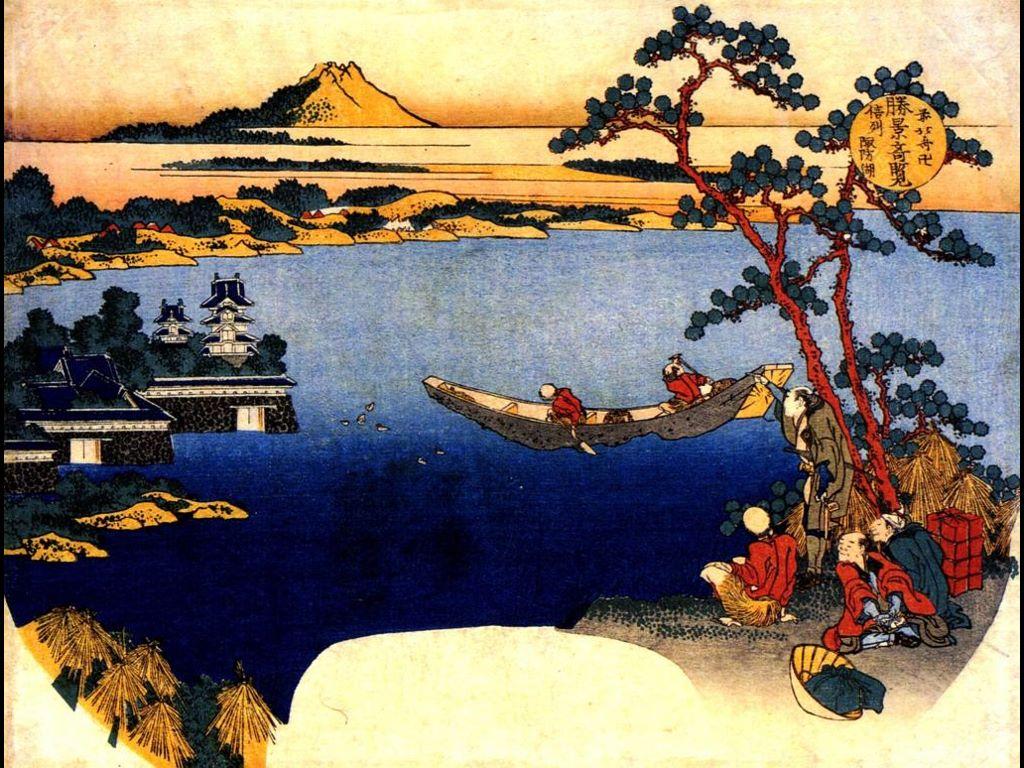 Artistic Wallpaper: Hokusai - View of Lake Suwa
