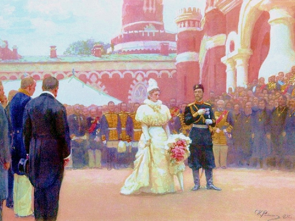 Artistic Wallpaper: Ilya Repin - The Imperial Reception of the Freeholding Elders in the Courtyard of the Petrovsky Palace on 18 May 1896