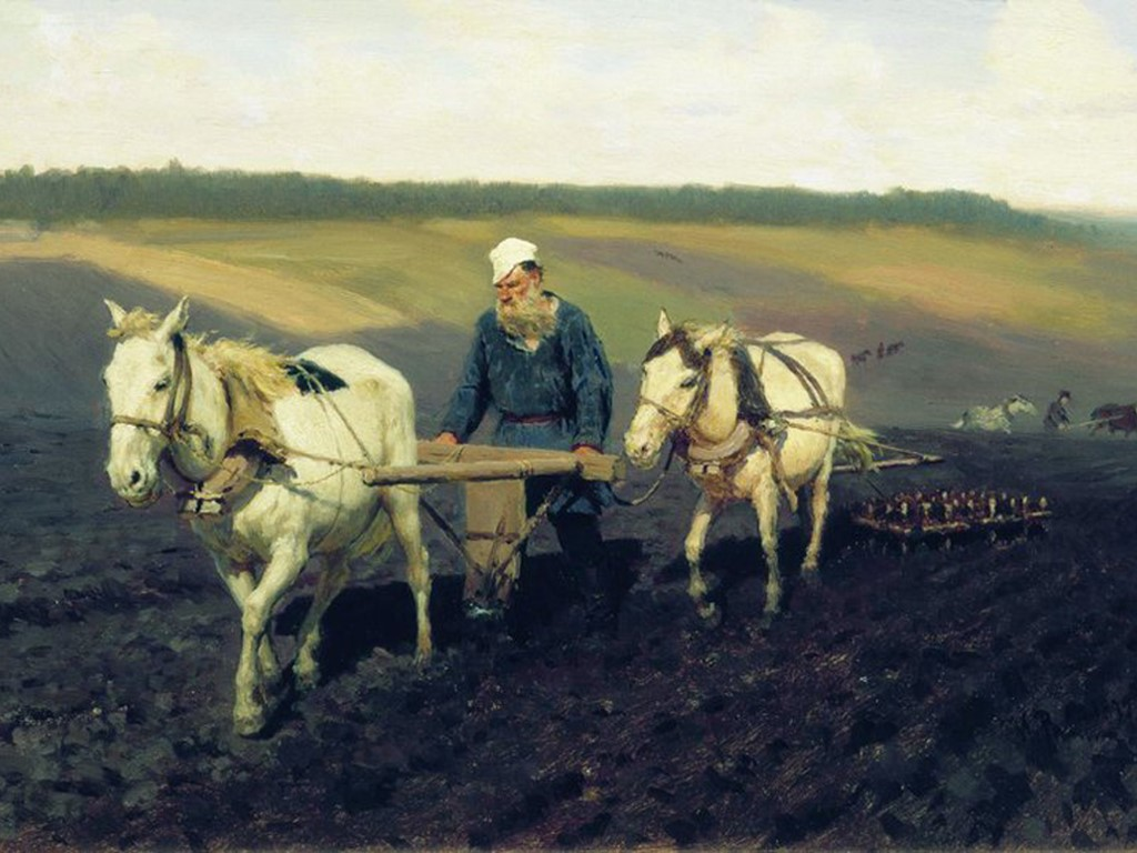 Artistic Wallpaper: Ilya Repin - Portrait of Leo Tolstoi as a Ploughman on a Field