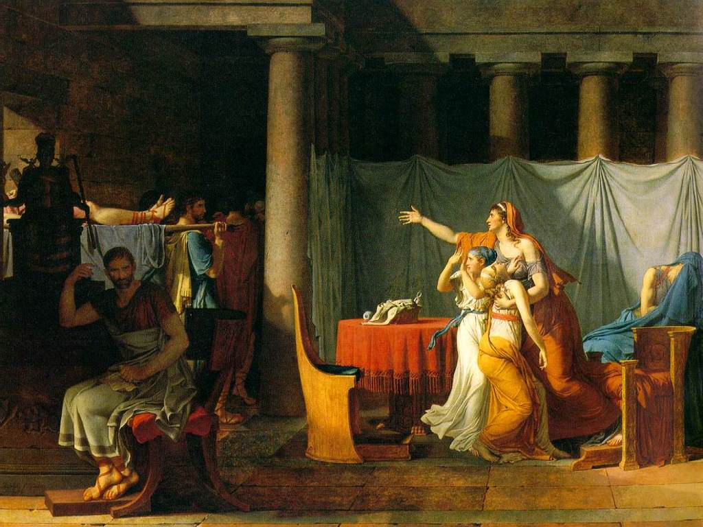 Artistic Wallpaper: Jacques-Louis David - The Lictors Bring to Brutus the Bodies of His Sons