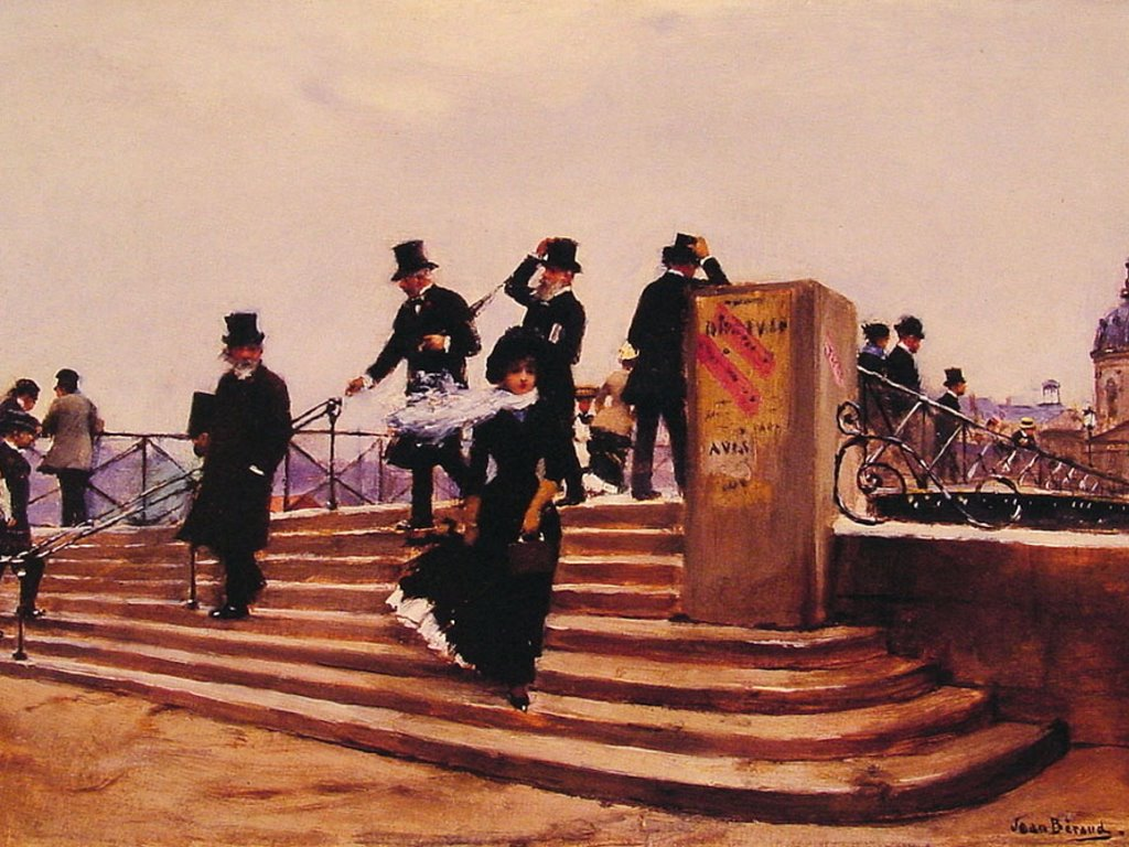 Artistic Wallpaper: Jean Béraud - Pont des Arts Windy Day