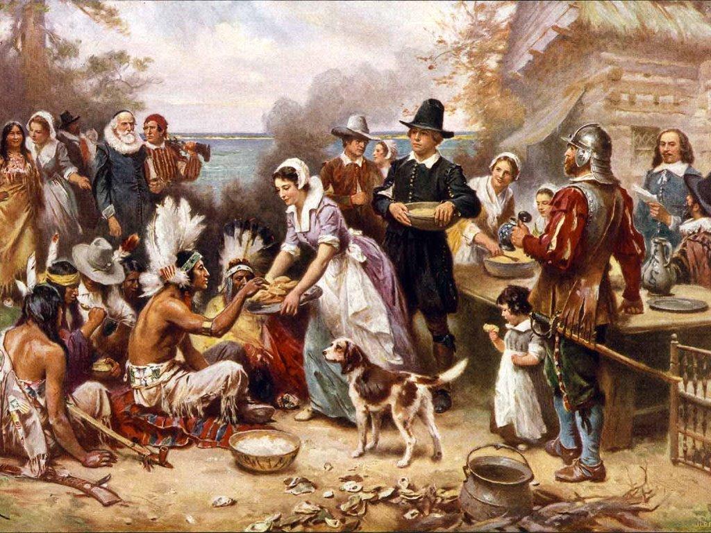Artistic Wallpaper: Jean Louis Gerome Ferris - The First Thanksgiving