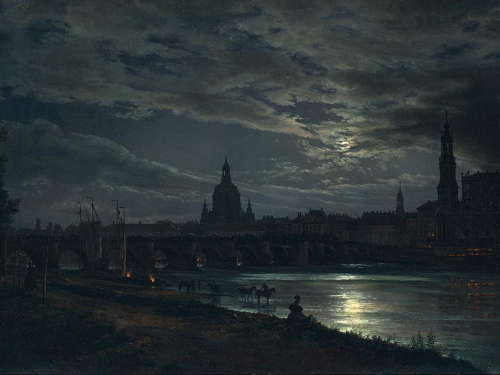 Artistic Wallpaper: Johan Christian Dahl - View of Dresden by Moonlight