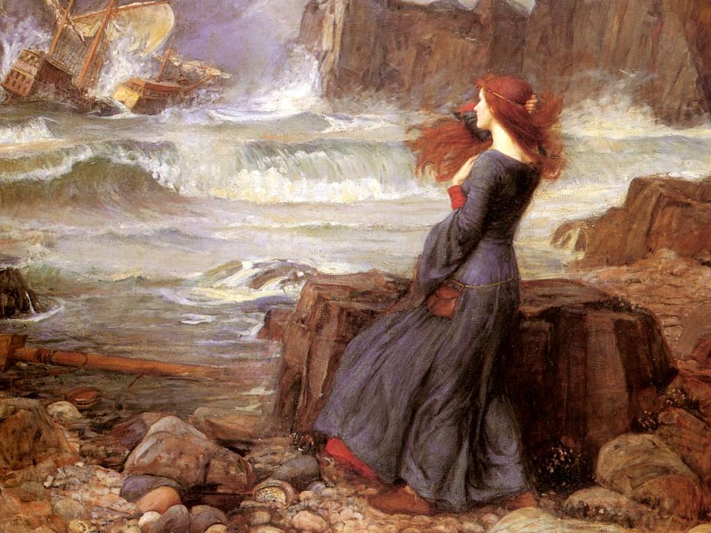 Artistic Wallpaper: John William Waterhouse - Miranda (The Tempest)