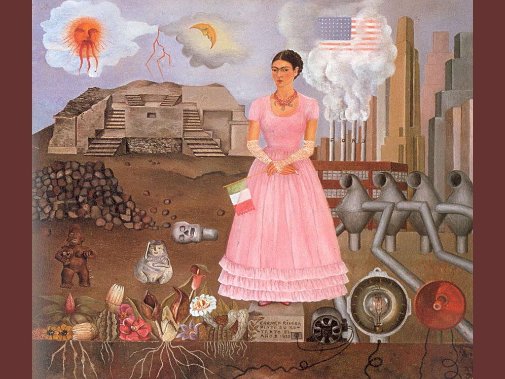 Artistic Wallpaper: Kahlo - Self Portrait Between the Borderline of Mexico and the United States