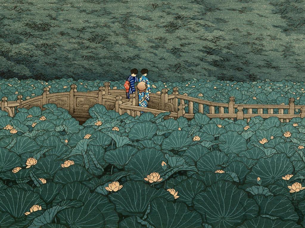 Artistic Wallpaper: Kawase Hasui - The Pond at Benten Shrine in Shiba