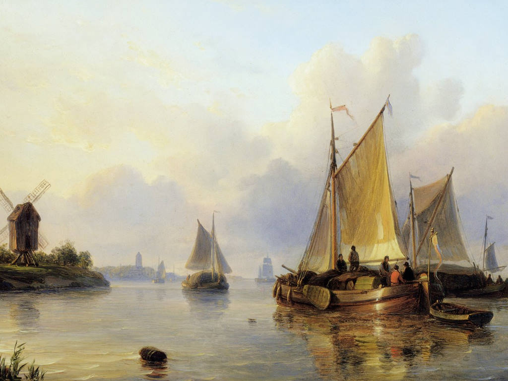 Artistic Wallpaper: Kleyn Lodewijk- Ships on Calm Water Sun