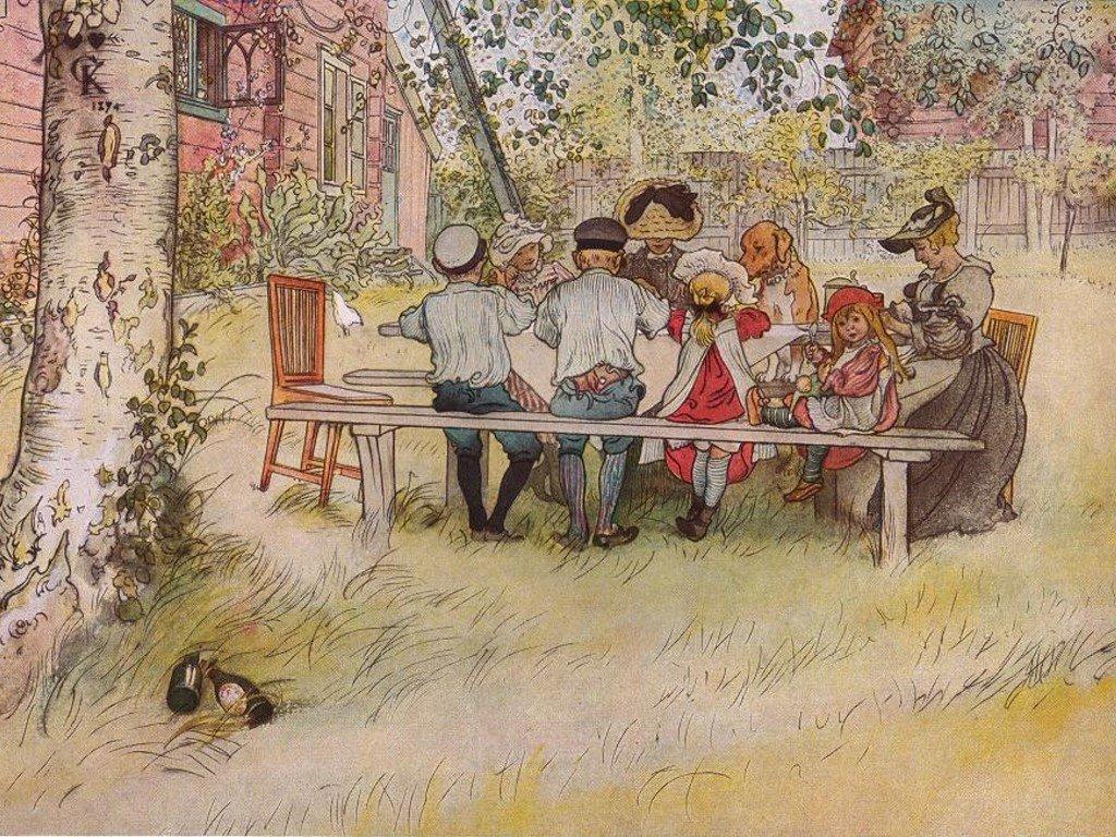 Artistic Wallpaper: Carl Larsson - Breakfast Under the Big Birch