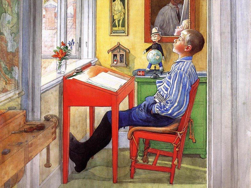 Artistic Wallpaper: Carl Larsson - Esbjorn Doing his Homework