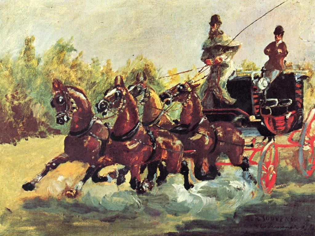 Artistic Wallpaper: Lautrec - Driving a Four-Horse Hitch